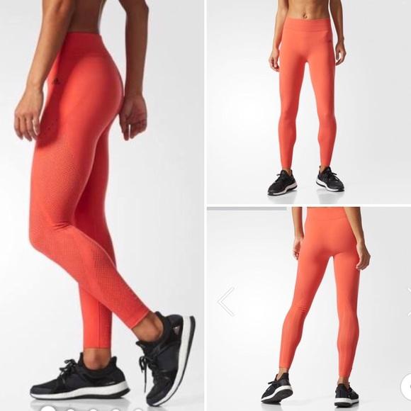 ee60fbe8f5182 adidas Pants   Wanderflow Warp Knit Tights Orange Exercise   Poshmark